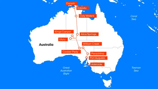 Roadtrip route The Explorers Way Australië