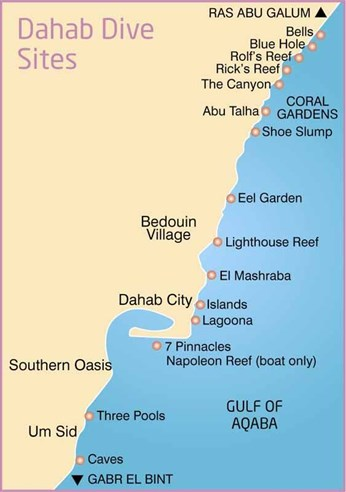 Dive sites in Dahab